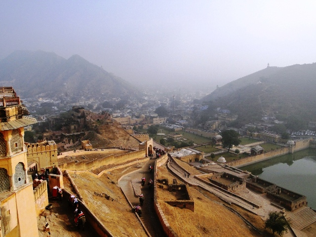 Indie widok z fortu Amber na mury i miasto