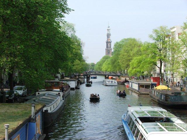 Widok na kanał Prinsengracht i Westerkerk (2008)