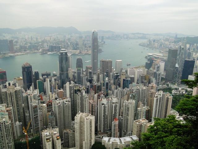 Hong Kong - widok na miasto ze wzgórza Wiktorii (20-21.04.2015)